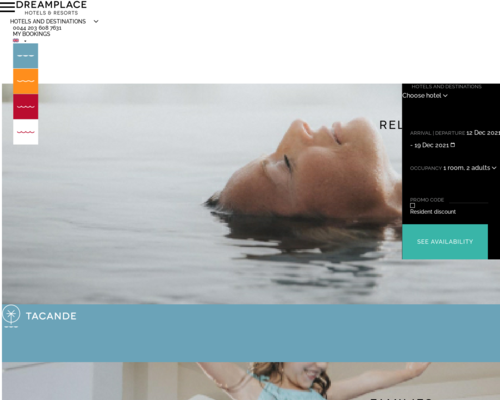 dreamplacehotels.com screenshot