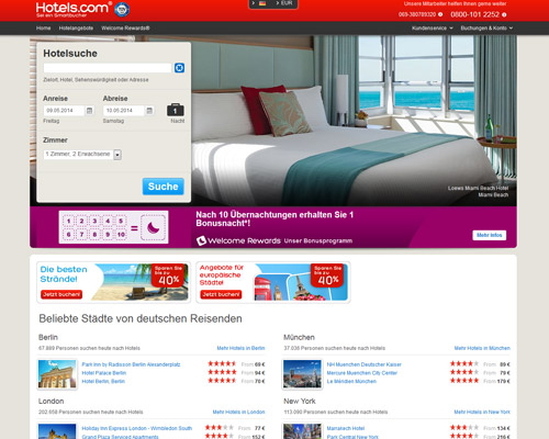 hotels.com screenshot