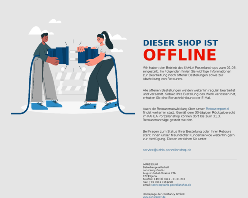 kahla-porzellanshop.de screenshot